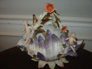 Antique Bisque Cherub Figurine Centerpiece Purple Leaves and Red Poppy German