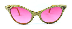 PINKY 50s SUNGLASSES VINTAGE CAT-EYES CANDY FRAME GENUINE FRANCE PARIS MADE NOS