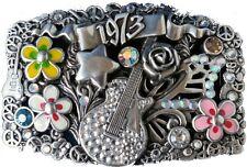 Swarovski Crystal Rock n Roll Belt Buckle Hand Pollished Antique Silver Plaited