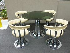 70'S MOD EXTRUDED CHROMED METAL TULIP SHAPED DINING TABLE & CHAIRS LIKE WOODARD
