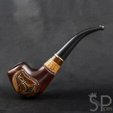 "*Anchor* Handmade carved bent pear tobacco smoking pipe | pipes - 6.1"" (15,5cm)"