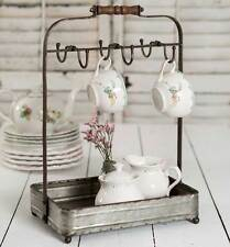 New French Country Rustic METAL PLATE CUP CADDY Tea Party Holder Rack Basket