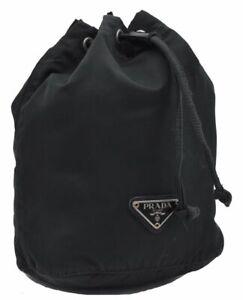 Authentic PRADA Nylon Pouch Black D2778