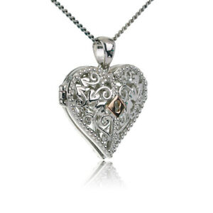 Clogau Silver Pendant Locket Welsh Rose Gold Kensington Heart 18'' Chain XX3SKHL