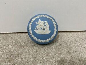 Wedgwood Jasperware Blue Grooming Pegasus Plain Round Trinket Pin Dish Vintage