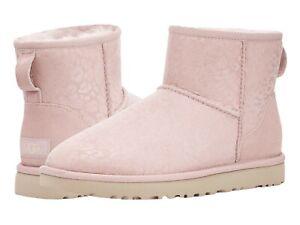 NEW UGG Uggs CLASSIC MINI SNOW LEOPARD Quartz Pink Metallic Boots Shimmer 9 40