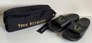 NEW! TRUE RELIGION BLACK GOLD HORSESHOE LOGO COMFORT SLIDES SLIPPERS US 10 UK 9
