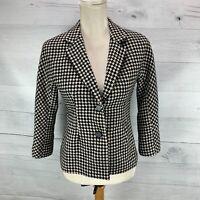 Talbots Womens Blazer Jacket Coat Black Houndstooth Wool Blend Size Petite 2P