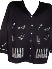 1X 20/22 CHRISTMAS MUSIC CRYSTAL NOTES DESIGN TERAZZO WOMEN'S COTTON CARDIGAN
