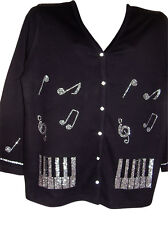 2X 22/24 CHRISTMAS MUSIC CRYSTAL NOTES DESIGN TERAZZO WOMEN'S COTTON CARDIGAN