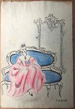 Dessin Original Lilia Radlova dit LILIAN VON RADLOFF (1902-1965) Femme Divan