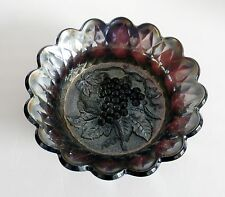 Carnival art glass bowl with grapes design - amethyst color