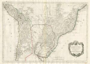 """""""La partie méridionale du Brésil et du Perou"""".  SANTINI/D'ANVILLE 1784 old map"""