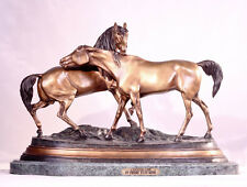 L'Accolade Lost Wax Bronze Horses Statue by P.J. Mene - Baby