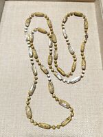Vintage Gold Tone Green White Carved Acrylic Bead Tribal Long Necklace