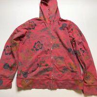 Fresh Produce Pink Floral Print Full Zip Hoodie Size Medium A521