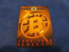 Boston Bruins 1997/98 NHL Hockey Pocket Schedule - Crown Royal