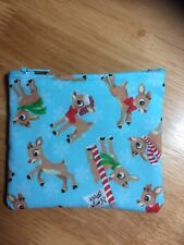Rudolph reindeer blue Christmas Handmade Christmas Gift Card Holder coin purse