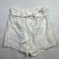 AM Basic Collection Italy Womens Size L Shorts White Linen Skort Paperbag Waist