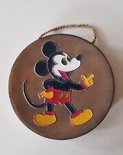 Mickey Mouse Micky Maus Walt Disney 1930-50 Kupferplatte emailliert Vintage!