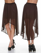 Women Double Layer Chiffon Pleated Retro Long Maxi Dress Skirt LARGE BROWN