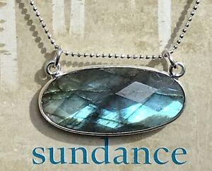 "NEW $128 Sundance Catalog 18"" Labradorite Sterling Silver Pendant Chain Necklace"