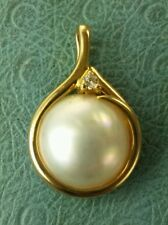 Estate 14k Yellow Gold 13mm+ Mabe Pearl Diamond Pendant