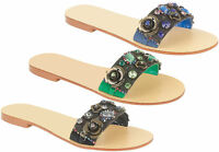 Ladies Designer Summer Beach Sandals Women Diamante Flat Evening Party Shoes 3-8