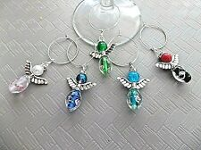 Handcrafted Wine Glass Charms-Set of 5 Glass Guardian Angel Wing Charms