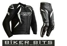 RST TRACTECH EVO 4 Motorcycle Sports CE Leather Jacket/Trousers 2PC Black/White