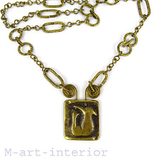 Modernist signed m. buffet bronce pendant Necklace remolque cadena * parís France