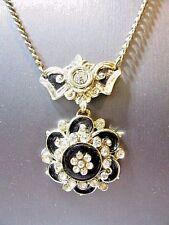 VINTAGE NECKLACE FANCY FLOWER BLACK ENAMEL AND RHINESTONE GOLD TONE CHAIN