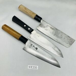 Damaged Lot of three Japanese Chef's Kitchen Knives Vintage From Japan ST235