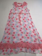 MINI BODEN PRETTY PASTEL PINK GREEN WHITE FLIMSY SPOTTY SUMMER DRESS AGE 11 - 12
