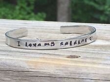 """I love my soldier - Hand Stamped Aluminum Cuff Bracelet 1/4"""", Forever Love"""