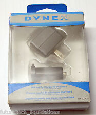 DYNEX COMPACT WALL & CAR CHARGER FOR IPOD & MOST MP3 PLAYERS - DX-ACDC2X