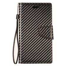 For ZTE ZFive G Premium Flip Out Pocket Wallet Case Pouch Cover Carbon Fiber