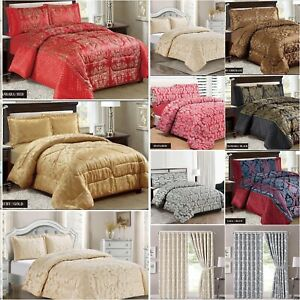 Jacquard 3 Pcs Piece Quilted Bedspread Throw Comforter Or Buy Matching Curtains