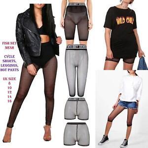 Women Black Sporty Fishnet Mesh 3/4 Legging cycling Shorts hot pants Stockings