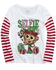 New Girls JUSTICE Elf Selfie Christmas Holiday Shirt size 20 Glitter Red stripes