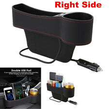 1x Right Side Car Accessories Seat Slit Pocket Storage Organizer Box w/2USB Port