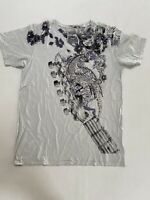 Vintage Men's Rock T-shirt Short Sleeve Nailhead Cotton Graphic NEW M blue