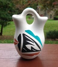 "Jemez Pottery Wedding Vase Signed ""L Toya Jemez New Mexico"" Great Colors"