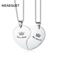 Matching King & Queen Crown Heart Necklace Couple Love  Xmas Gifts For Her Women