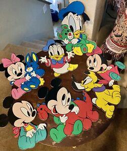 7 Vintage Disney Babies Nursery Wall Decor Mickey Minnie Pluto Daisy Donald