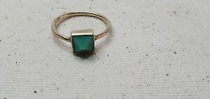 Green Chrysoprase Pyramid Sterling Silver Ring