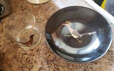 Vintage Couroc Roadrunner Round Tray bowl & matching Cocktail glass