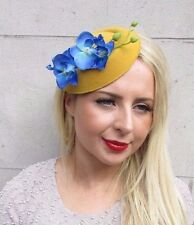 Electric Blue Mustard Yellow Orchid Flower Pillbox Hat Fascinator Hair Clip 3243