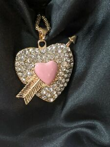 Betsey Johnson Pink  Heart Arrow Crystals Gold Tone Necklace