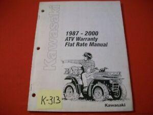 KAWASAKI FACTORY ATV WARRANTY FLAT RATE MANUAL 1987-2000 FOR USE BY TECHNICIANS